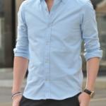 サックスブルー・水色のオックスフォードシャツで爽やかな清潔感を!