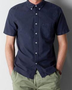 真夏でも爽やかでクールで涼しい!ネイビー・紺色の襟付き半袖シャツ