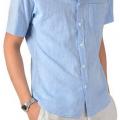 真夏も爽やかで涼しい!サックス・ライトブルーの襟付き半袖シャツ